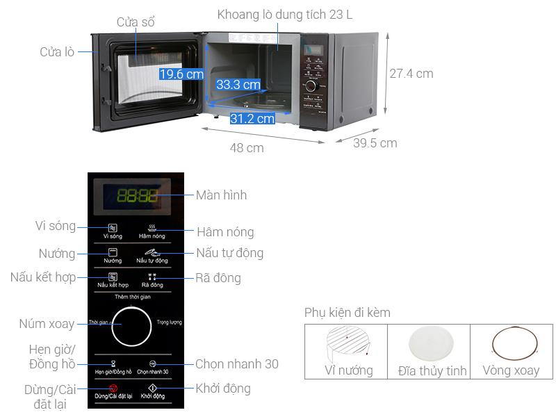 Lò vi sóng inverter Panasonic NN-GD37HBYUE 23L